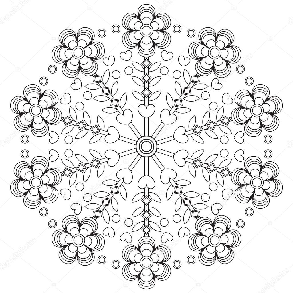 Mandala para colorear para niños — Vector de stock © Счастье #86486382
