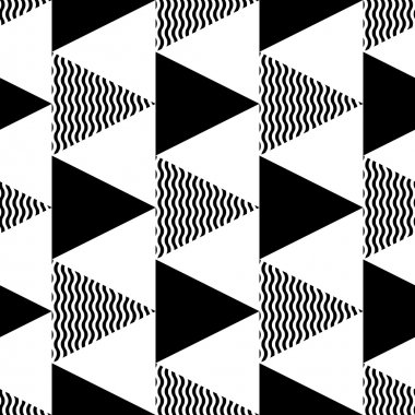 Geometric pattern of black and wavy triangles.