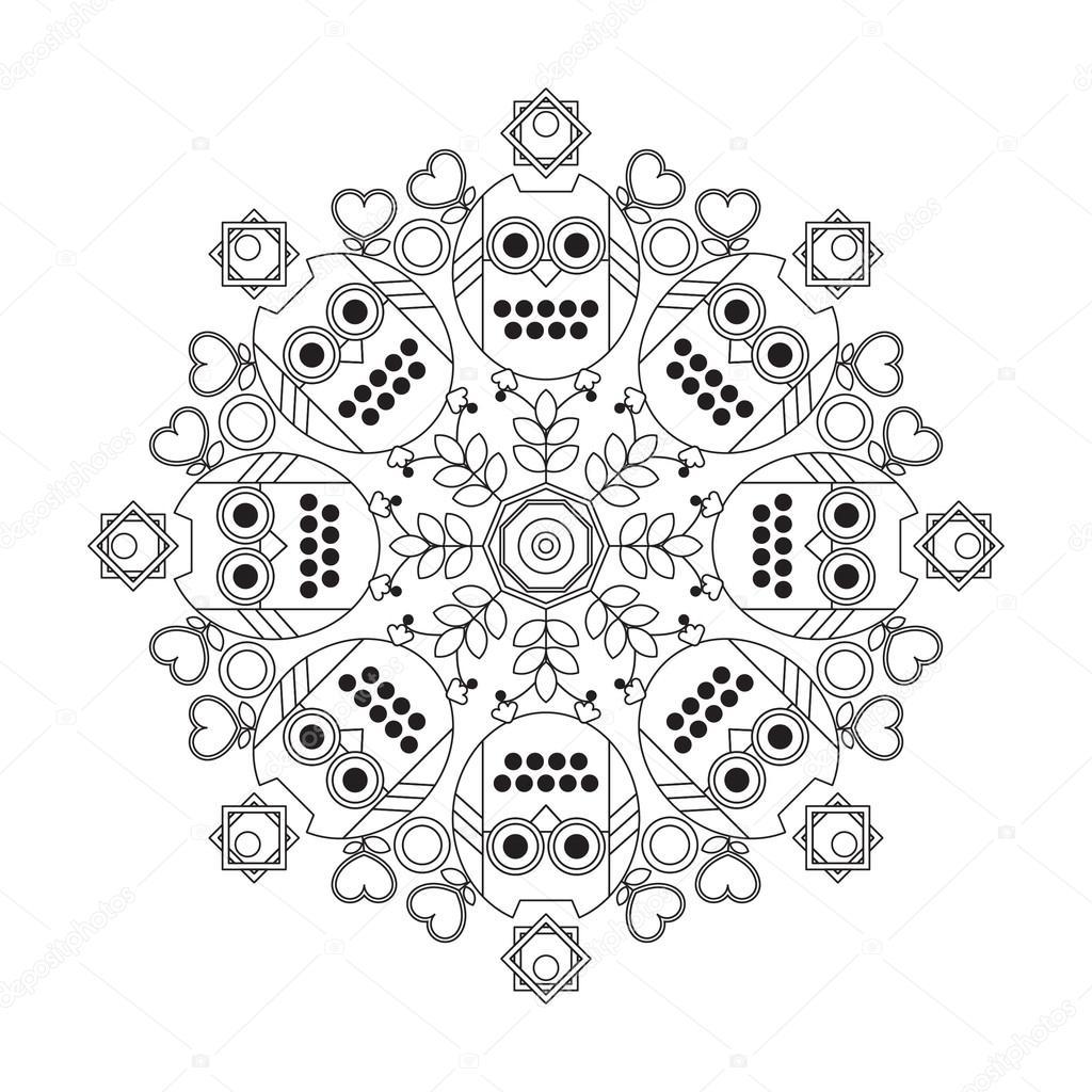 Kinder Mandala Eule Färbung — Stockvektor © Счастье #90160478