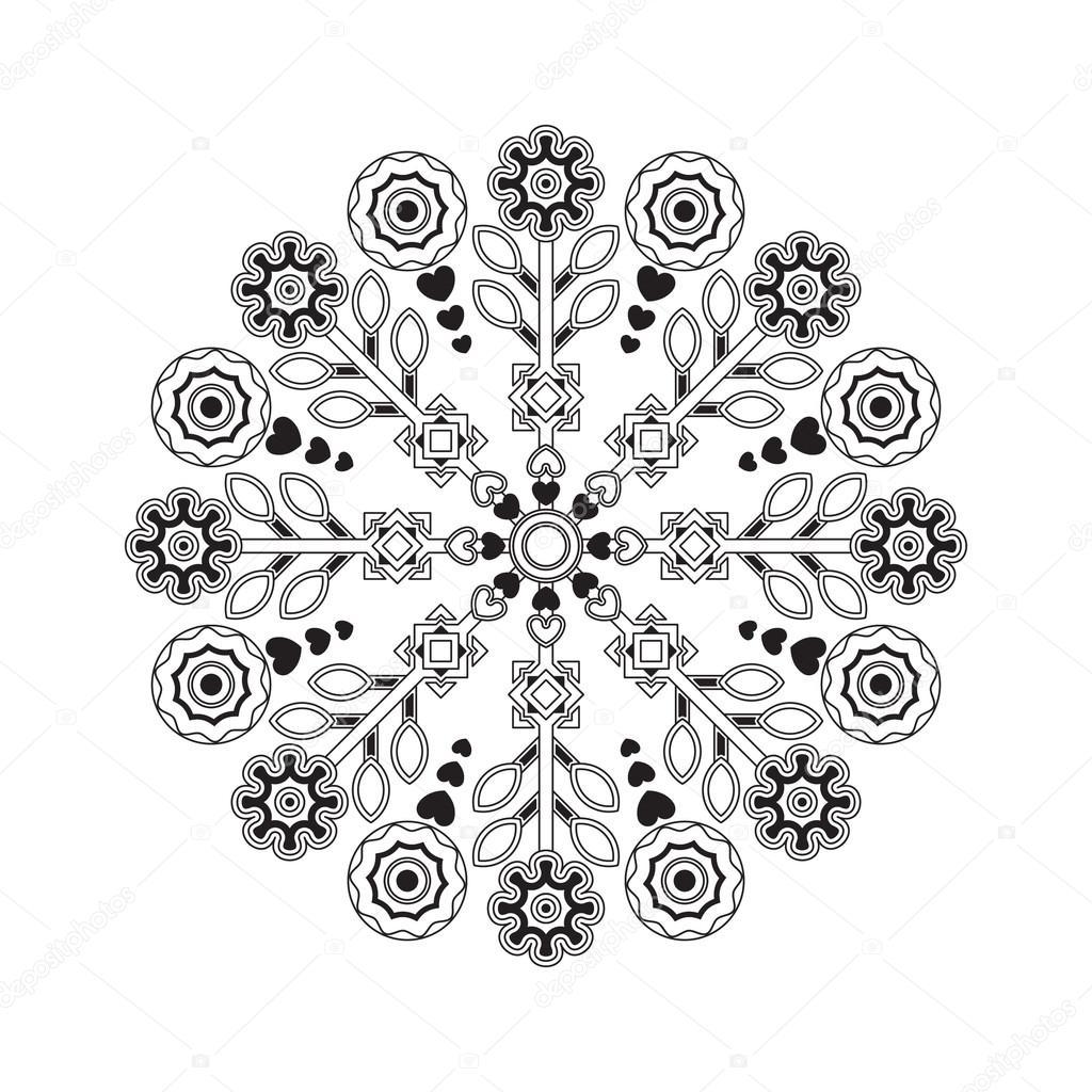 Mandala mit Herzen und Blumen — Stockvektor © Счастье #94415004