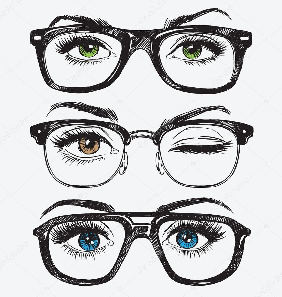 6bbfeaed63 Set of hand drawn women s eyes with hipster glasses — Stock Vector ...