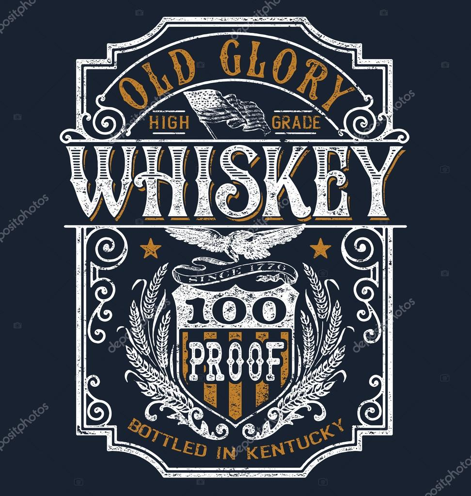 Vintage Americana Whiskey Label T Shirt Graphic Stock Vector