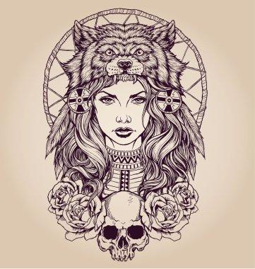 Native American girl with Wolf headdress