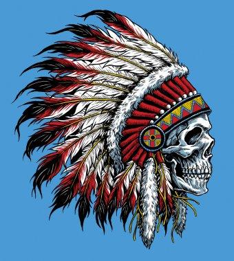 Indian skull vector illustration Indian skull vector illustration Indian skull vector illustration stock vector