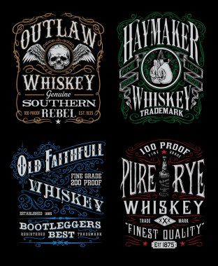 Vintage Whiskey Label T-shirt Graphic Set Vintage Whiskey Label T-shirt Graphic Set stock vector