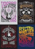 Sada návrhů plakátu tričko Vintage Rock