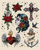 Fényképek Tattoo Flash illusztráció készlet