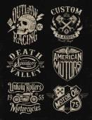 Egy színes vintage motorkerékpár grafikus beállítása