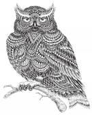 Ručně tažené ilustrace sova abstraktní vzor