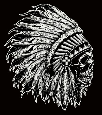 One color Indian skull vector illustration