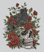 Varjú, a rózsa és a koponyát tetovál Design