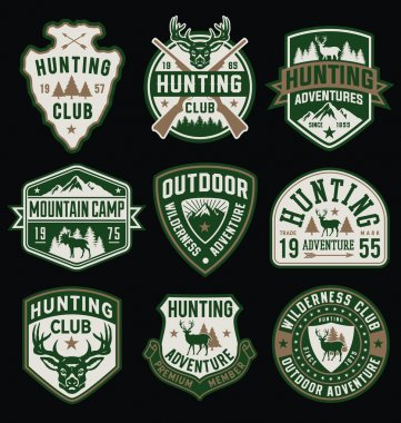 Hunting and Outdoor themed badges and emblem collection