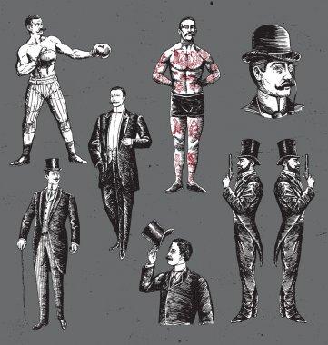 Vintage Hand Drawn Gentlemen Set