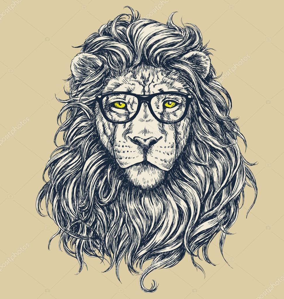 Illuminati Triangle Eye Drawing Hipster lion vector il...
