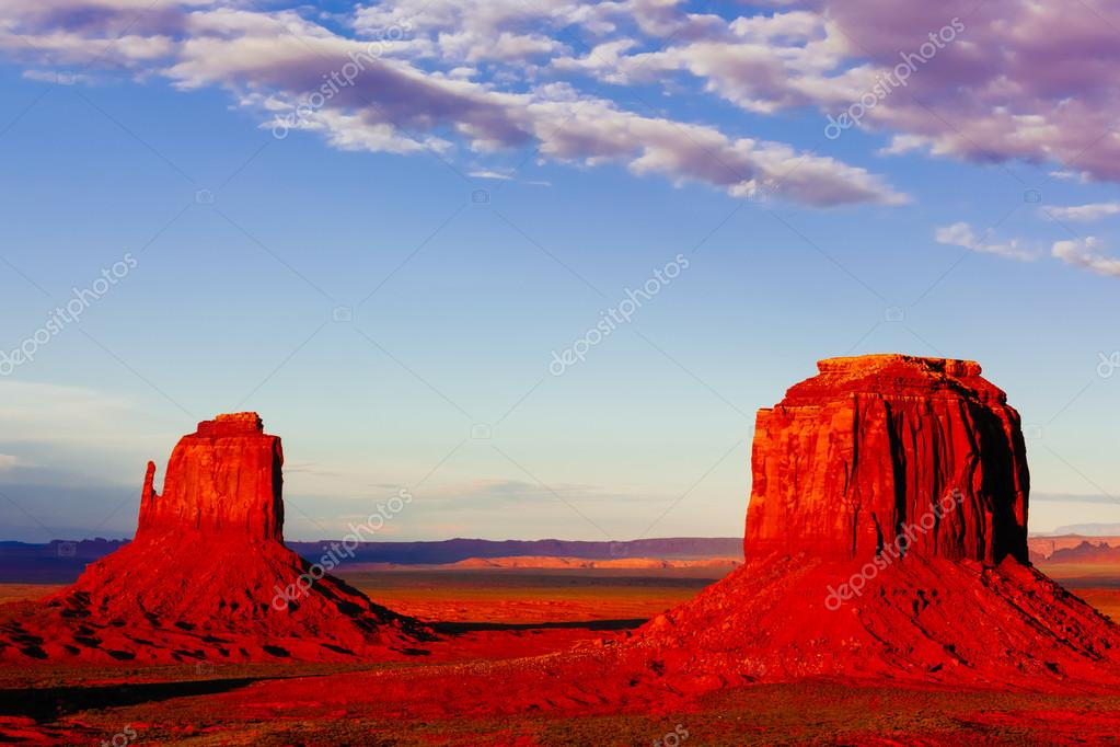Buttes at sunset, The Mittens, Merrick Butte, Monument Valley, A