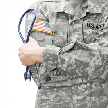 US Army doctor holding stethoscope next to his shoulder - studio shot