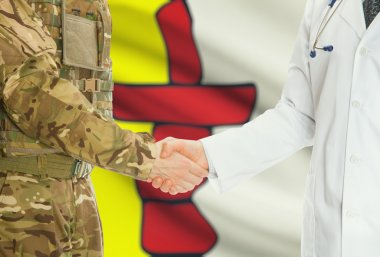 Military man in uniform and doctor shaking hands with Canadian provincies and territories flags on background - Nunavut