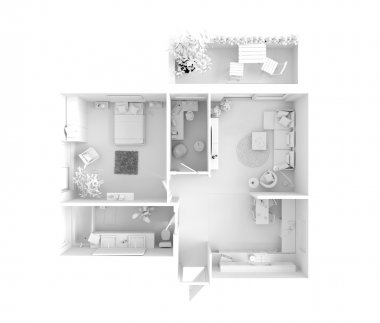 Plan view of an apartment:  Kitchen, Dining, Living, Bedroom, Hall, Bathroom. stock vector