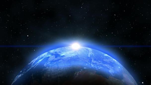 Modrá planeta Země s východem slunce v prostoru
