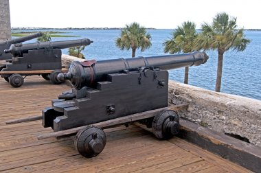 Old cannons aiming at the sea