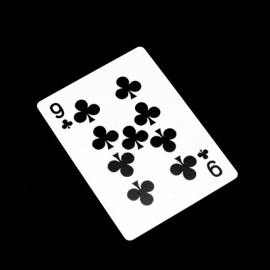 number nine clover card isolated on black
