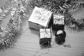 Photo item decorate for christmas tree black and white color tone styl