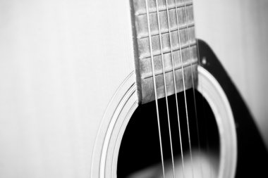still life part of guitar black and white color tone style