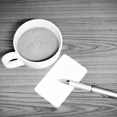 coffee cup and business card black and white color tone style