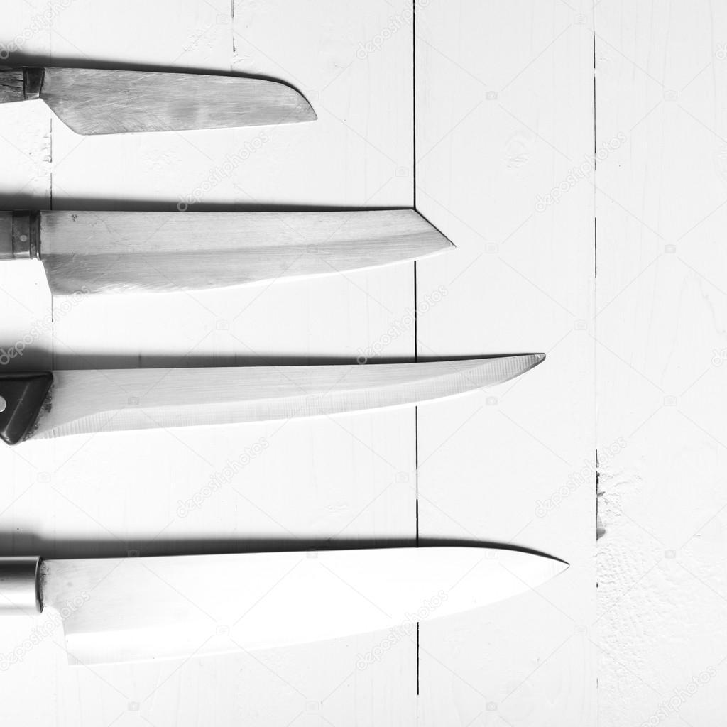 Küche Messer schwarz-weiß Tonfarbe Stil — Stockfoto © ammza12 #83180066