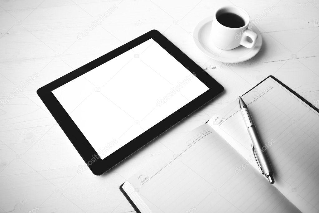 Tablette de bureau fournitures style de couleur noir et blanc