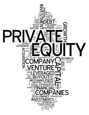 Word Cloud with Private Equity related tags stock vector