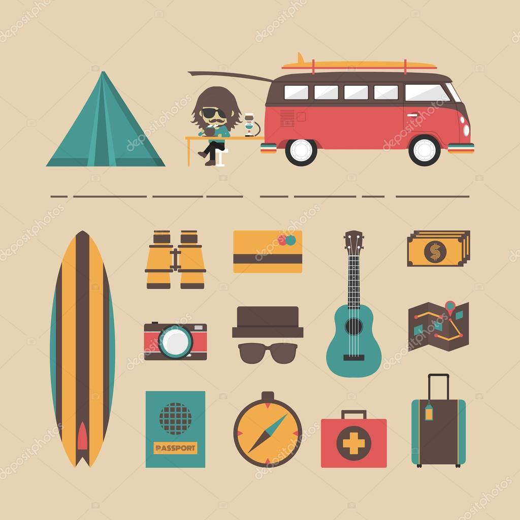 Classic Van With Equipment Icon Set Retro Style Vector By Zirconicusso