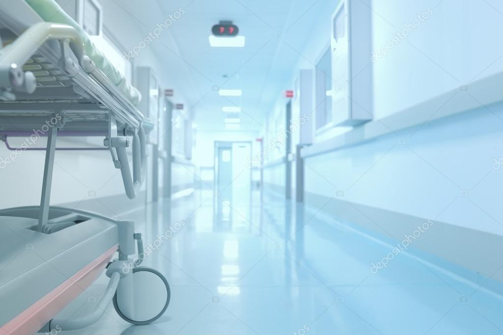 Tedious waiting in the hospital corridor. Concept