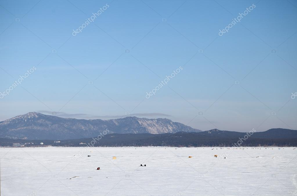 Winter landscape of mountains and lakes
