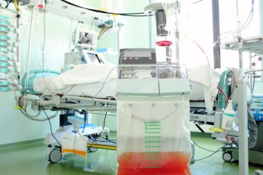 Patient in the intensive care unit ward