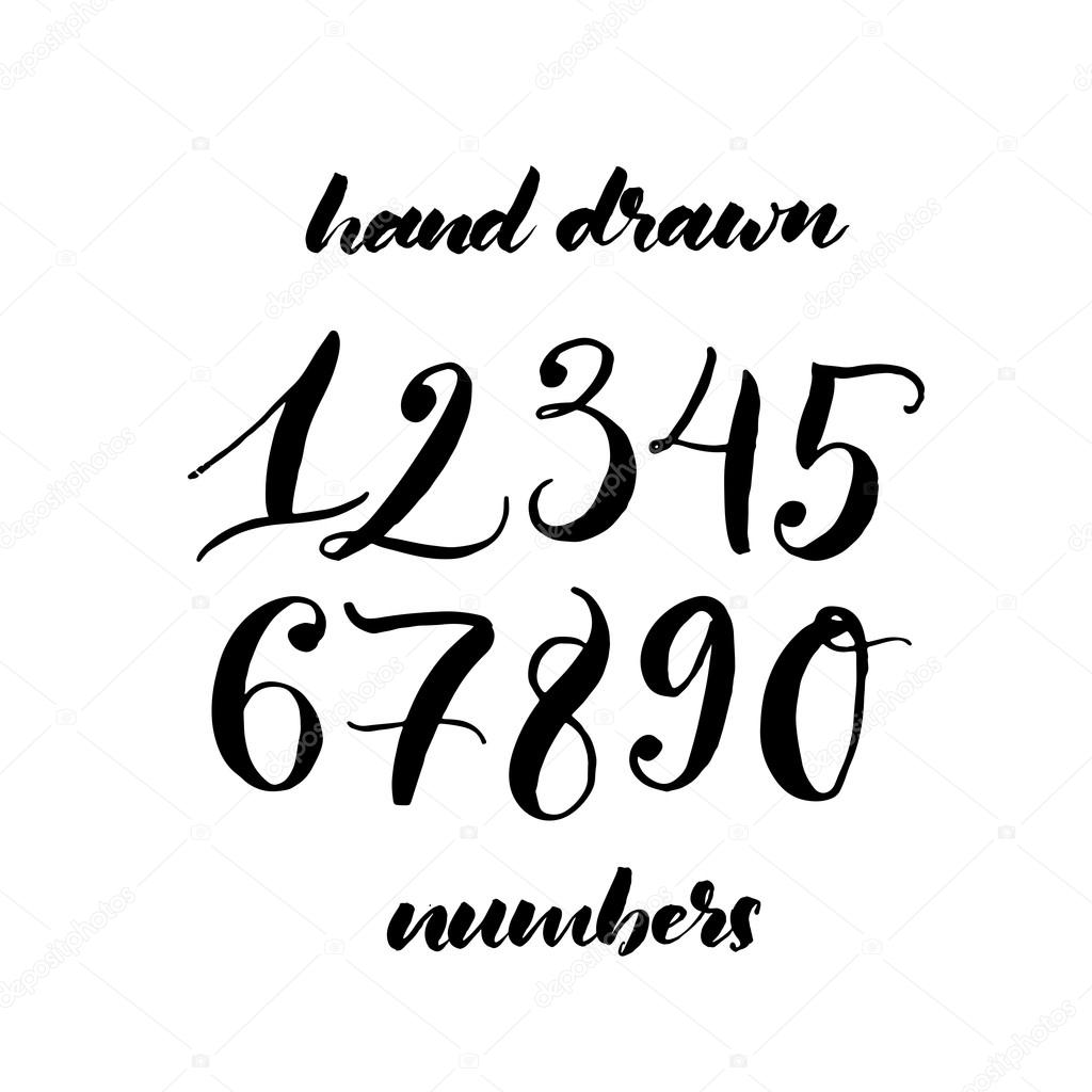 Collection Of Hand Drawn Numbers.