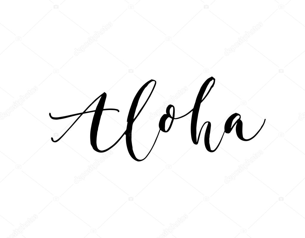 Hand drawn aloha card stock vector gevko93 112302842 hand drawn greeting phrase hello on hawaiian ink illustration hand drawn lettering background isolated on white background positive quote m4hsunfo