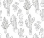 Kézzel rajzolt kaktusz minta. Varratmentes háttérben