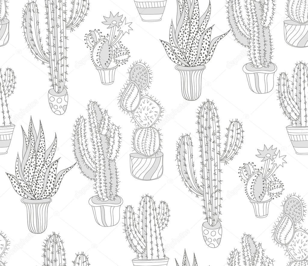 Hand drawn cactus pattern. Seamless background.