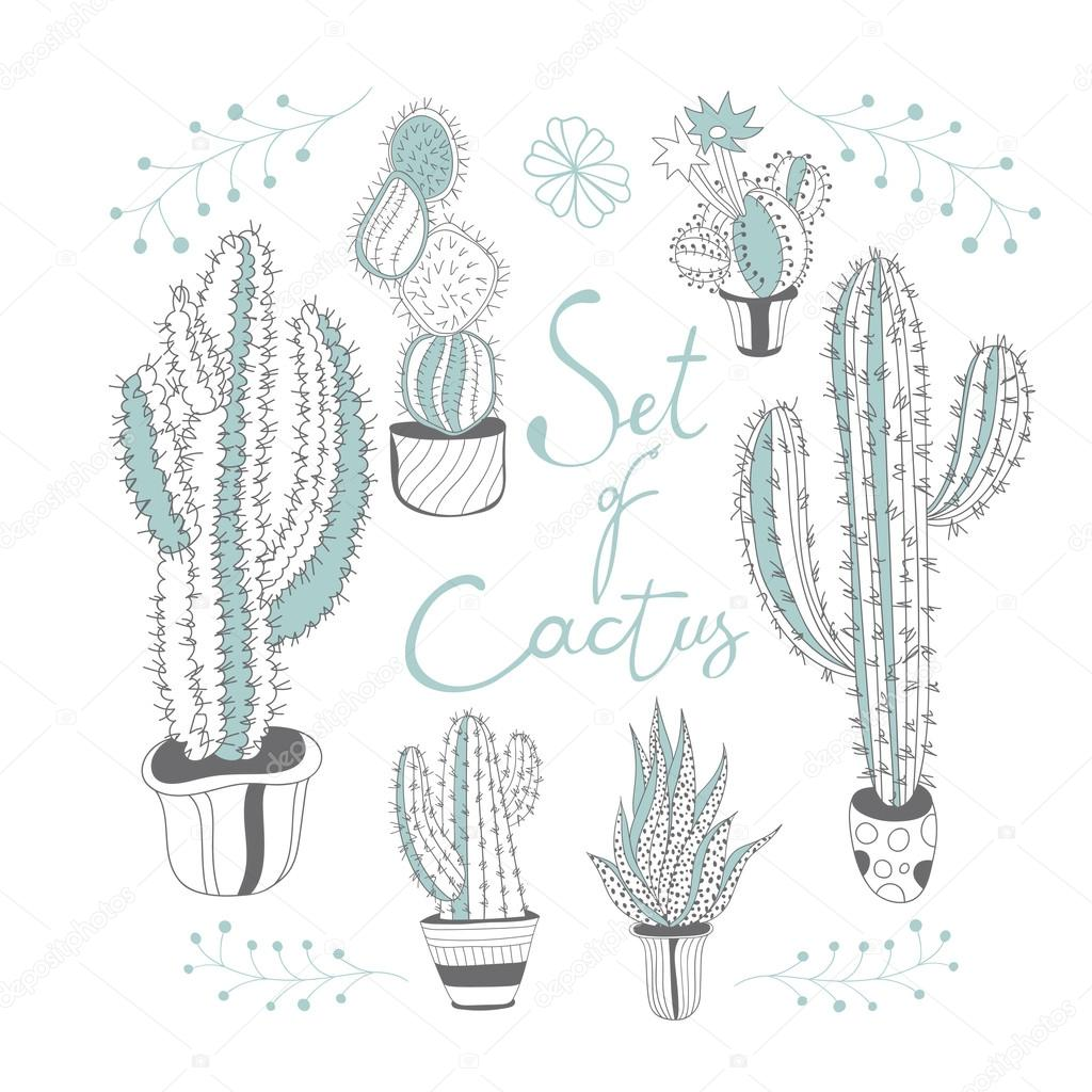 Set of cactus in a pots. Cute hand drawn vector cactus in the po