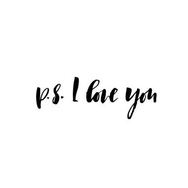 P.S. I love you card. Ink illustration.