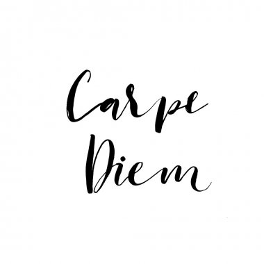 Carpe diem card. Hand drawn lettering.