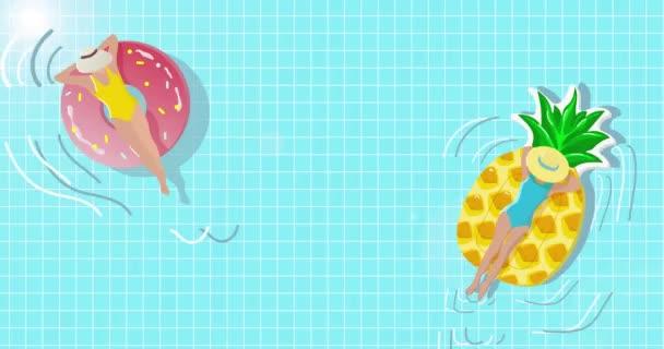 Cartoon animace roztomilých dívek plavání v letním bazénu.