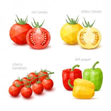 Polygonal vegetables - tomato. Vector illustration
