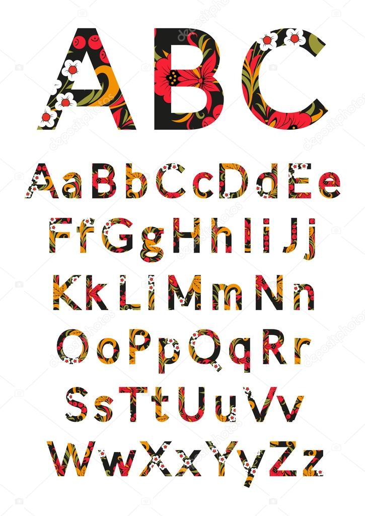 engels alfabet in stijl chochloma. vectorillustratie — stockvector