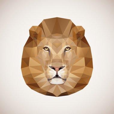 Polygonal lion. Vector illustration