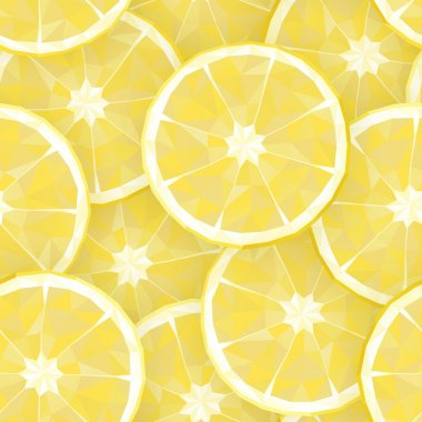 Seamless background with polygonal segments of lemon. Vector ill