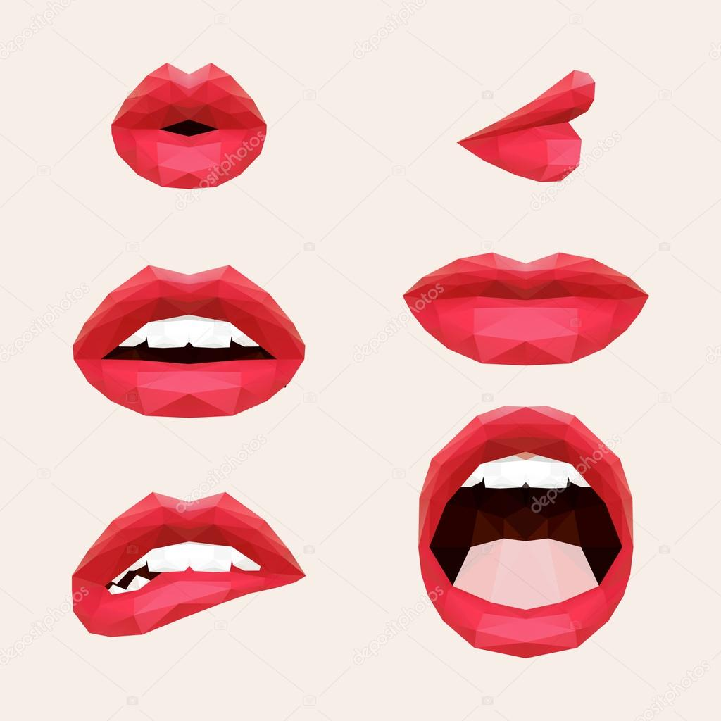 Polygonal mouth and lips. Vector illustration