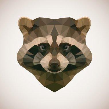 Polygonal raccoon. Vector illustration