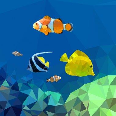 Polygonal fish. Vector illustration